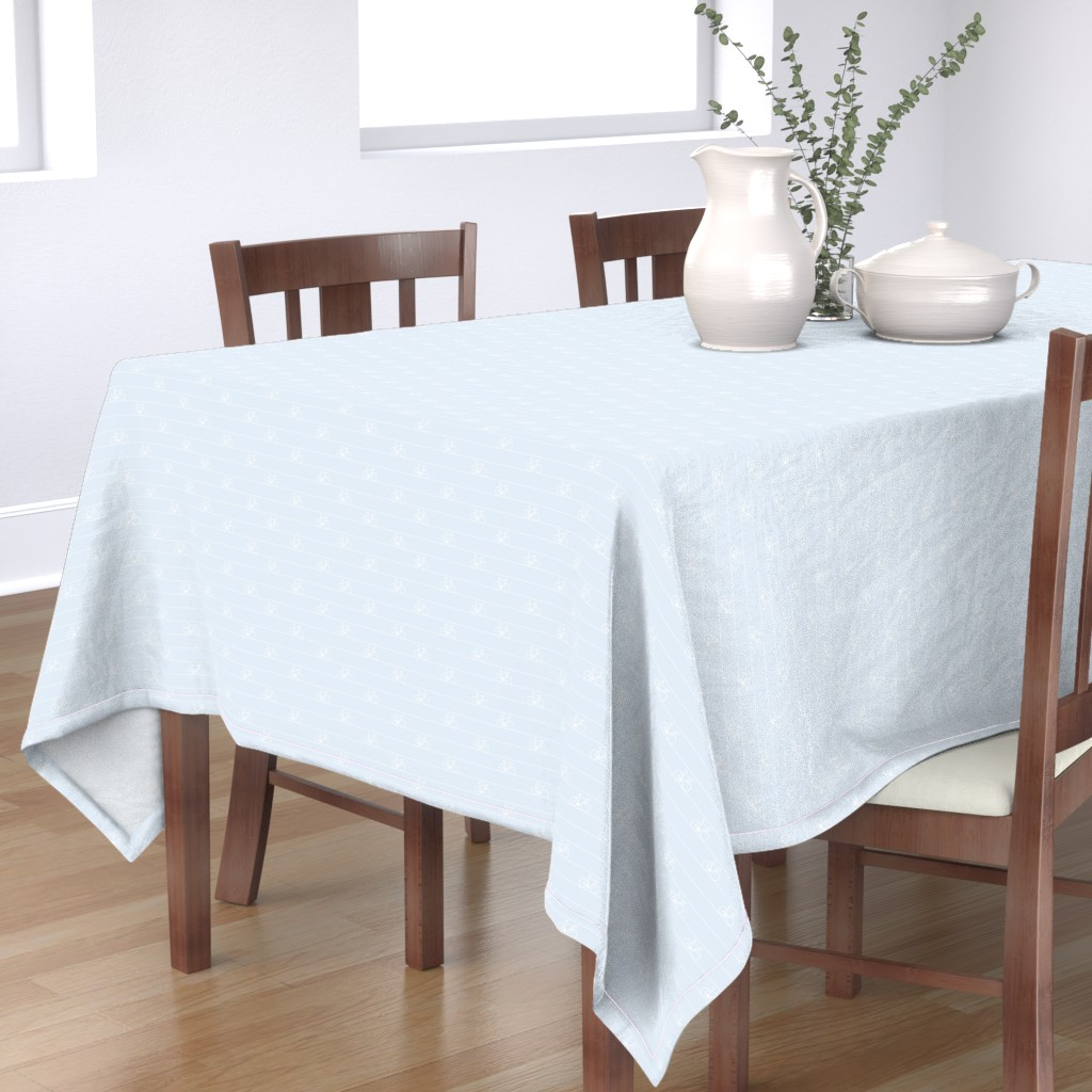 Bantam Rectangular Tablecloth featuring Le Tour - bicycle stripes - white on blue - resize 25% by booboo_collective