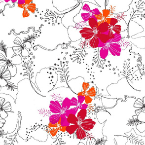Hawaiian Garden Floral - black, white and red