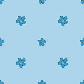 Forget Me Not // Blue Flowers // Polka Dots