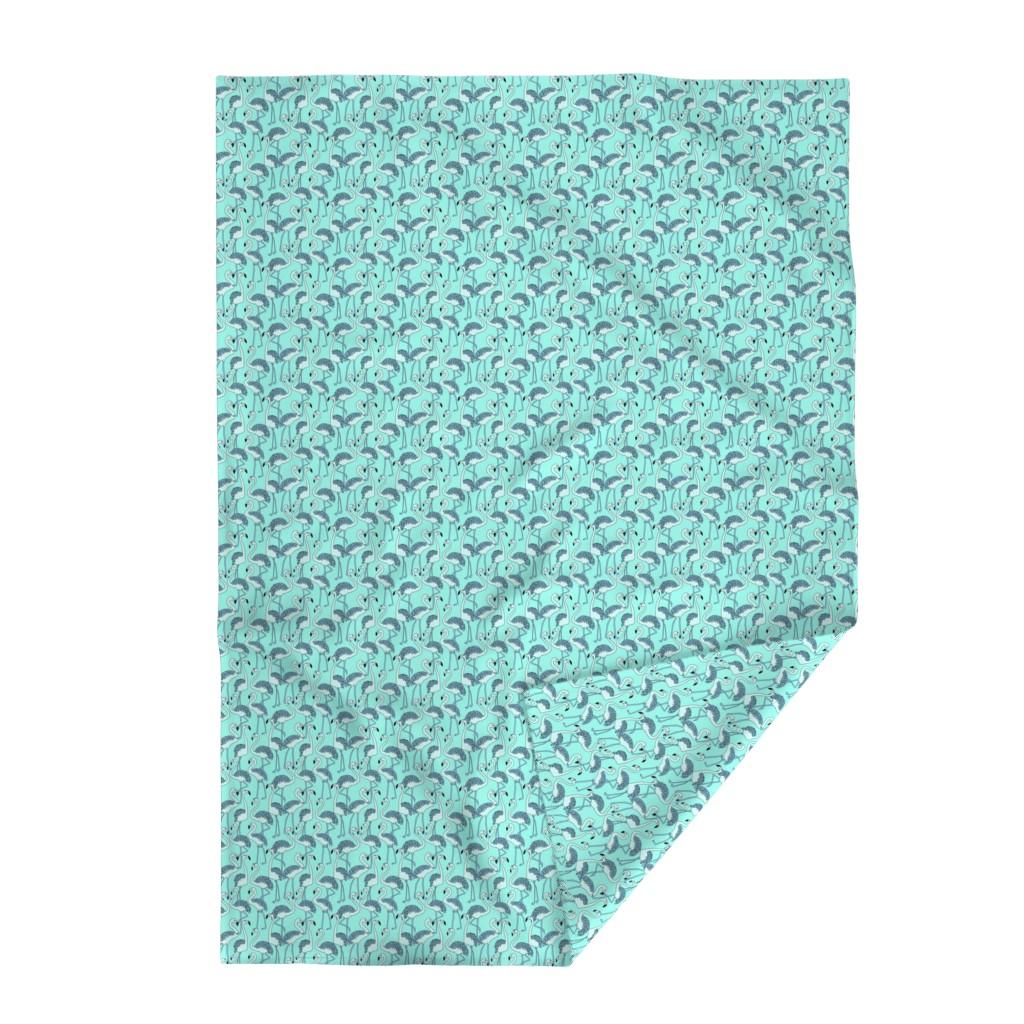 Lakenvelder Throw Blanket featuring Aqua Blue Flamingo by gypsea_art_designs