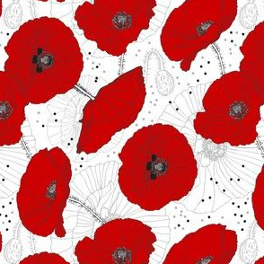 Red Poppy Seamless Pattern
