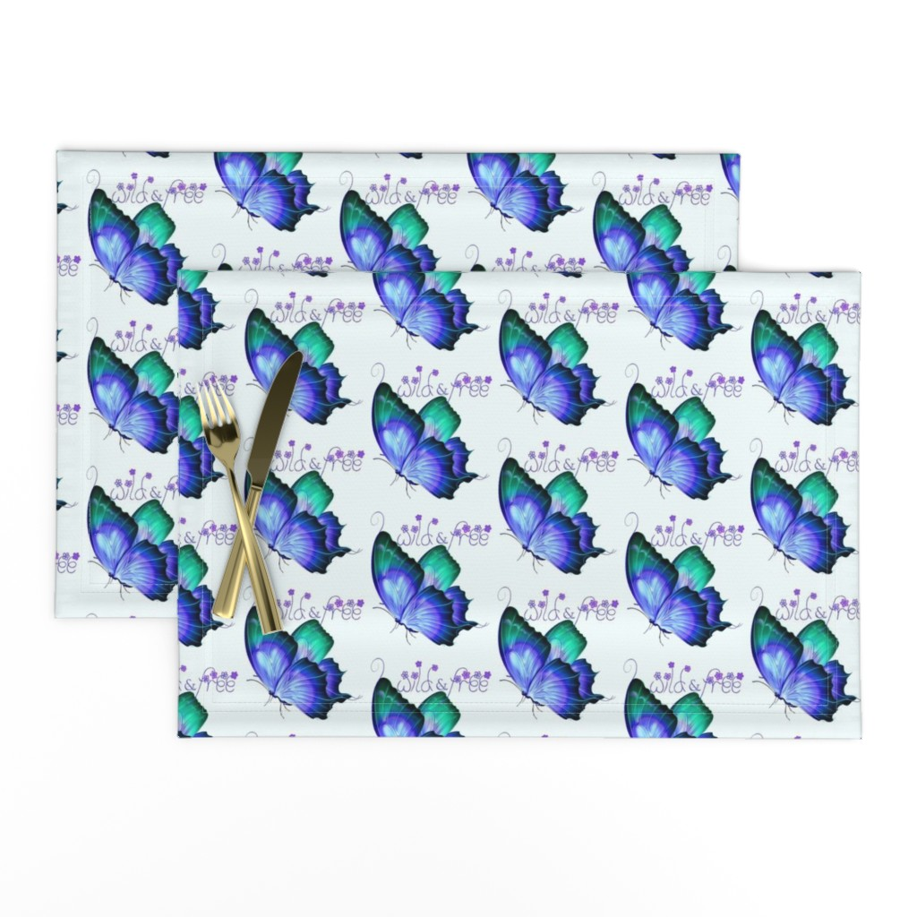 Lamona Cloth Placemats featuring Wild and Free Butterfly by gypsea_art_designs