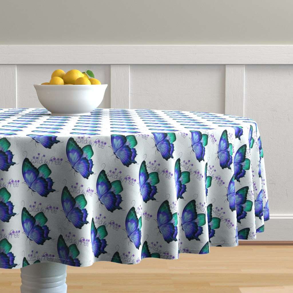 Malay Round Tablecloth featuring Wild and Free Butterfly by gypsea_art_designs