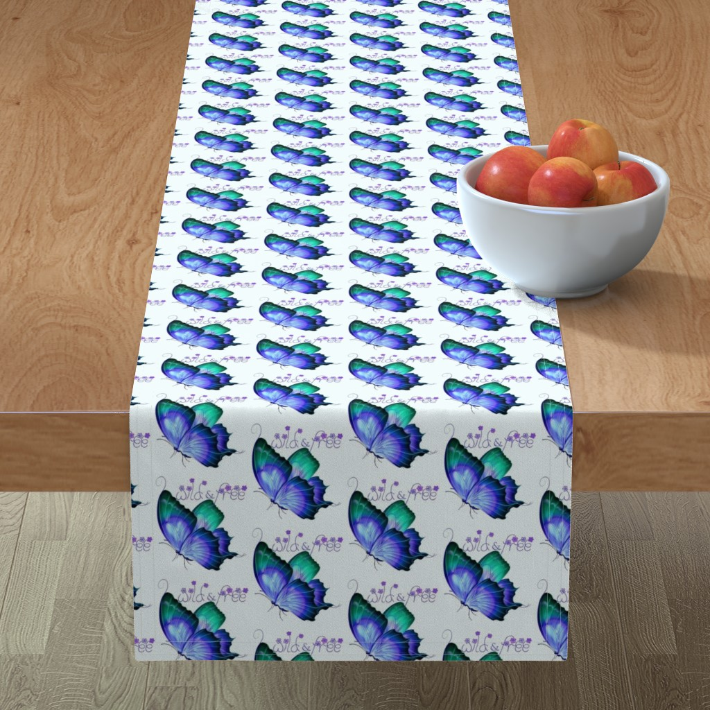 Minorca Table Runner featuring Wild and Free Butterfly by gypsea_art_designs