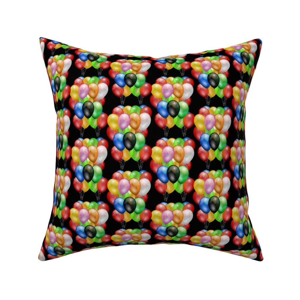 Catalan Throw Pillow featuring Party Fun - balloons, black  by bravenewart