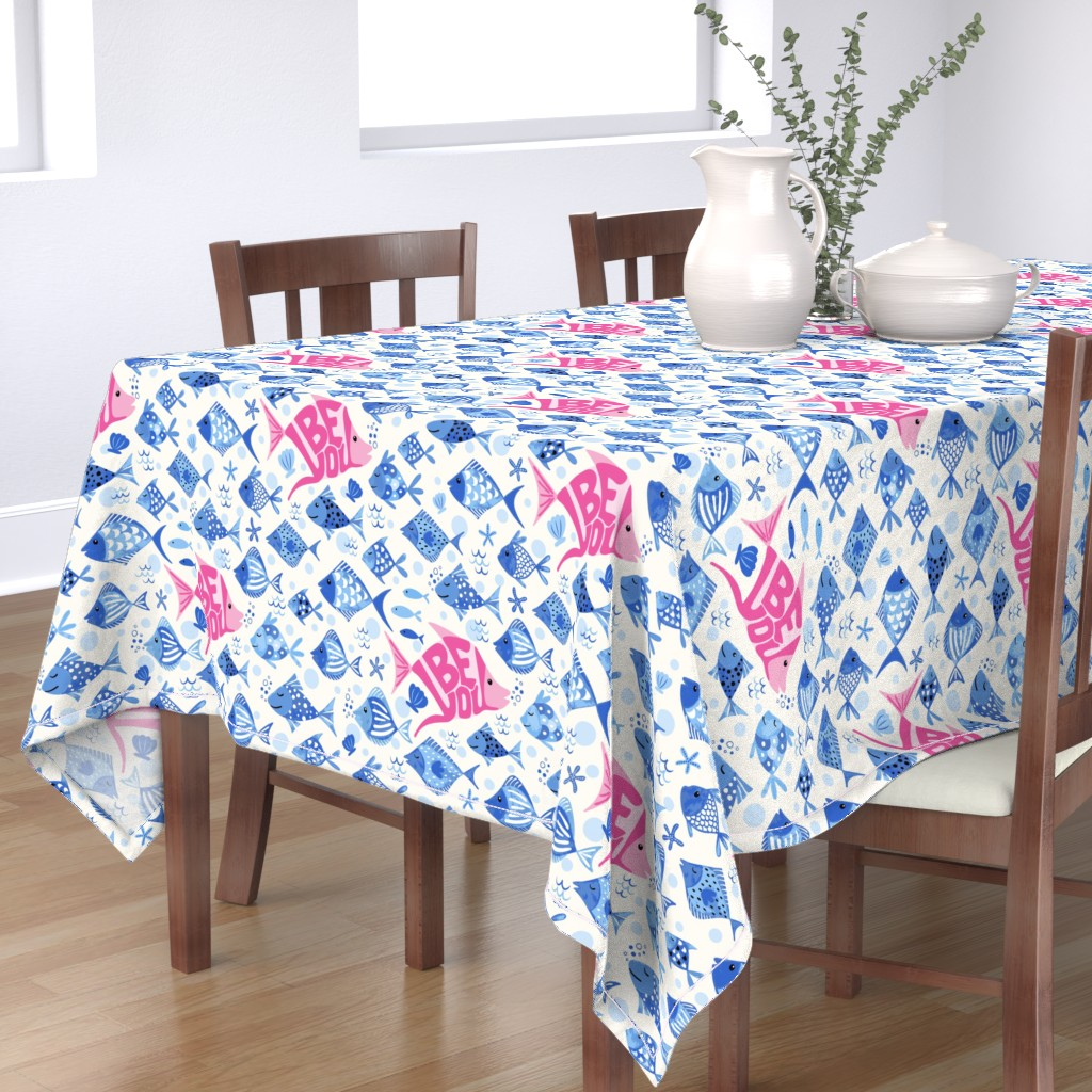 Bantam Rectangular Tablecloth featuring Be you! - blue by vivdesign