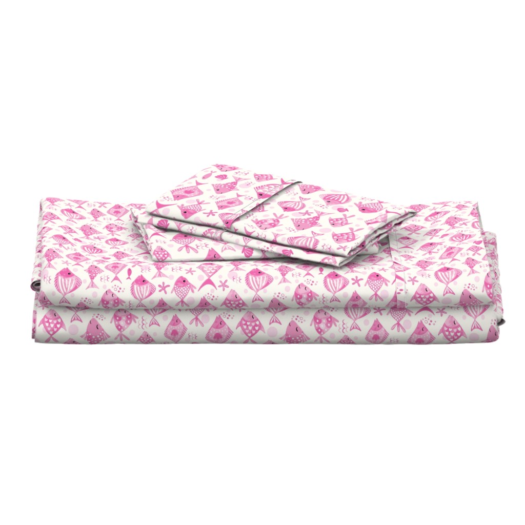 Langshan Full Bed Set featuring Little fish in the sea - pink by vivdesign