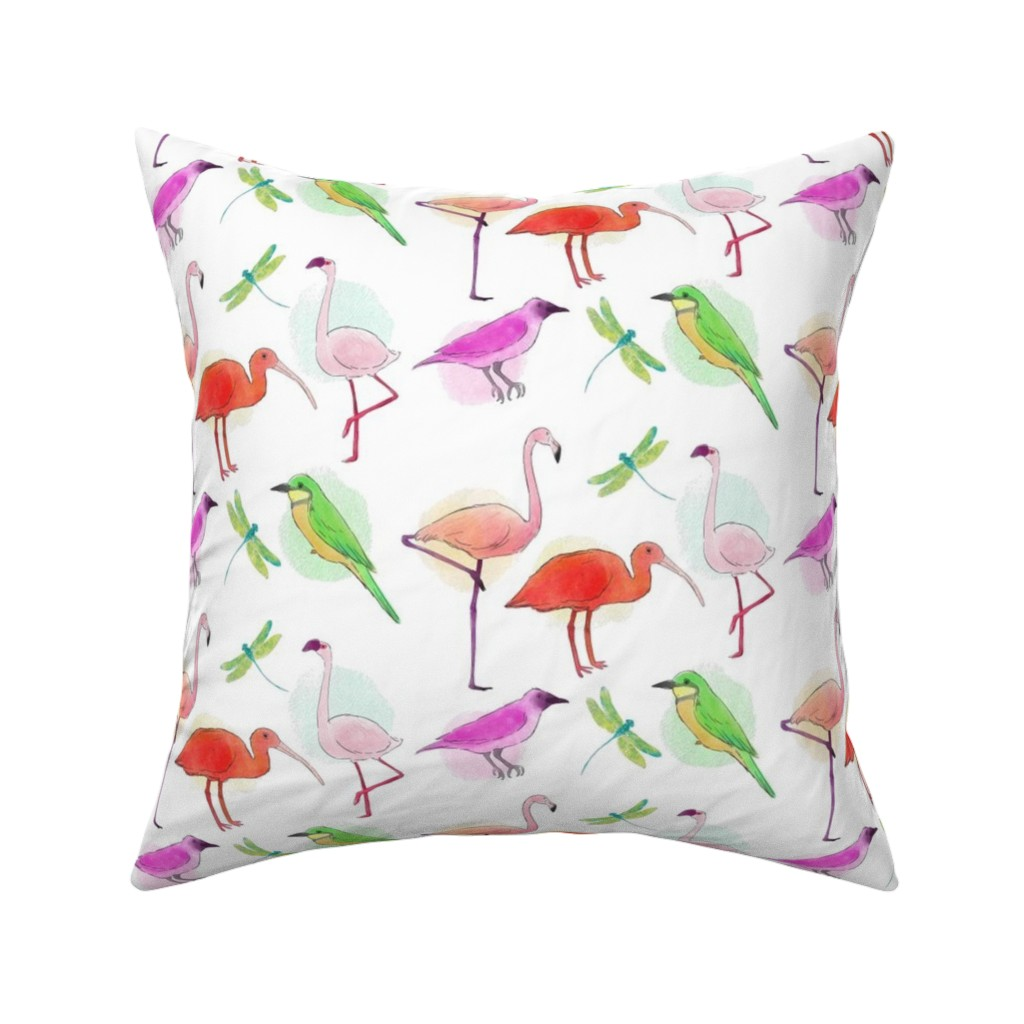 Catalan Throw Pillow featuring Tropical Birds And Dragonflies by gypsea_art_designs
