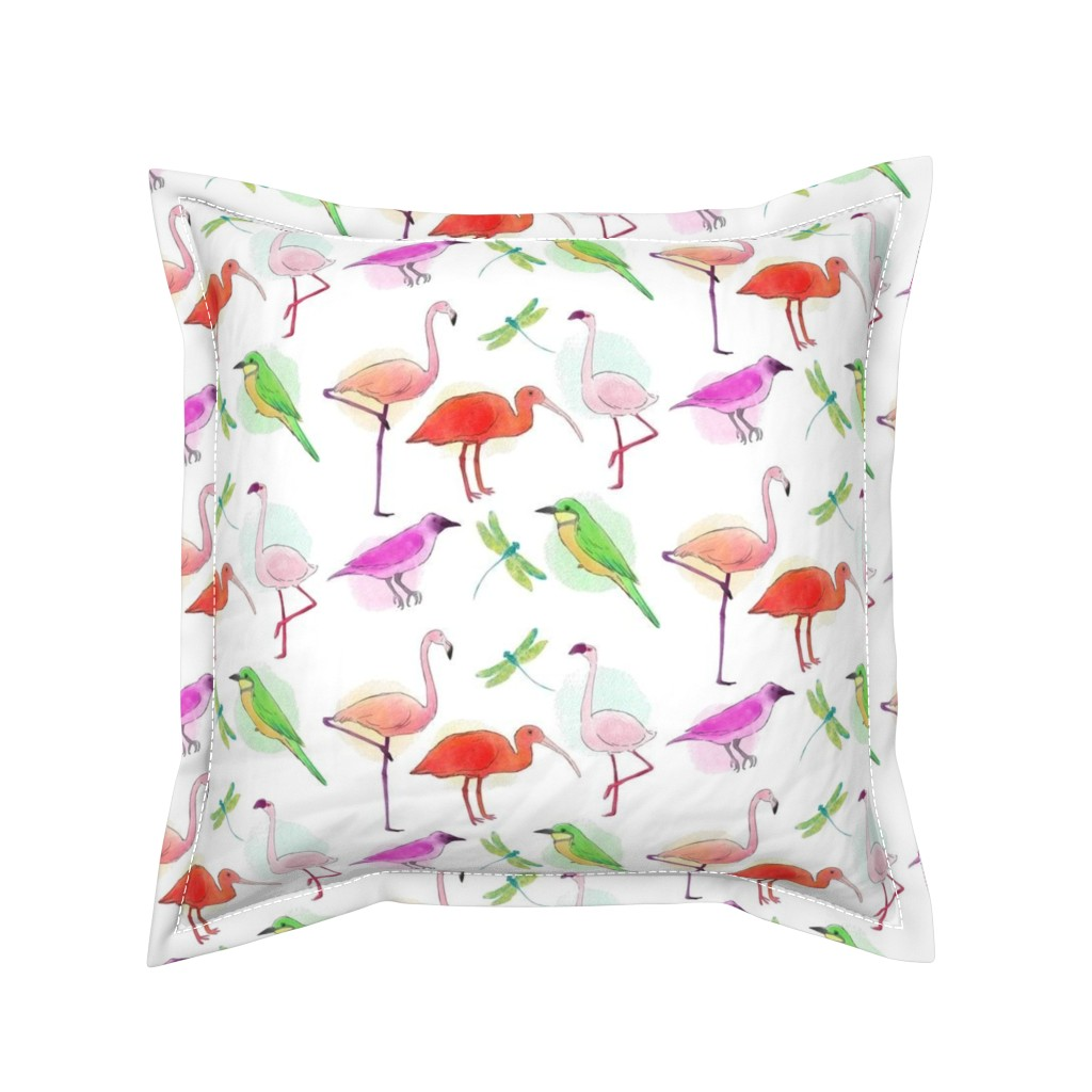 Serama Throw Pillow featuring Tropical Birds And Dragonflies by gypsea_art_designs