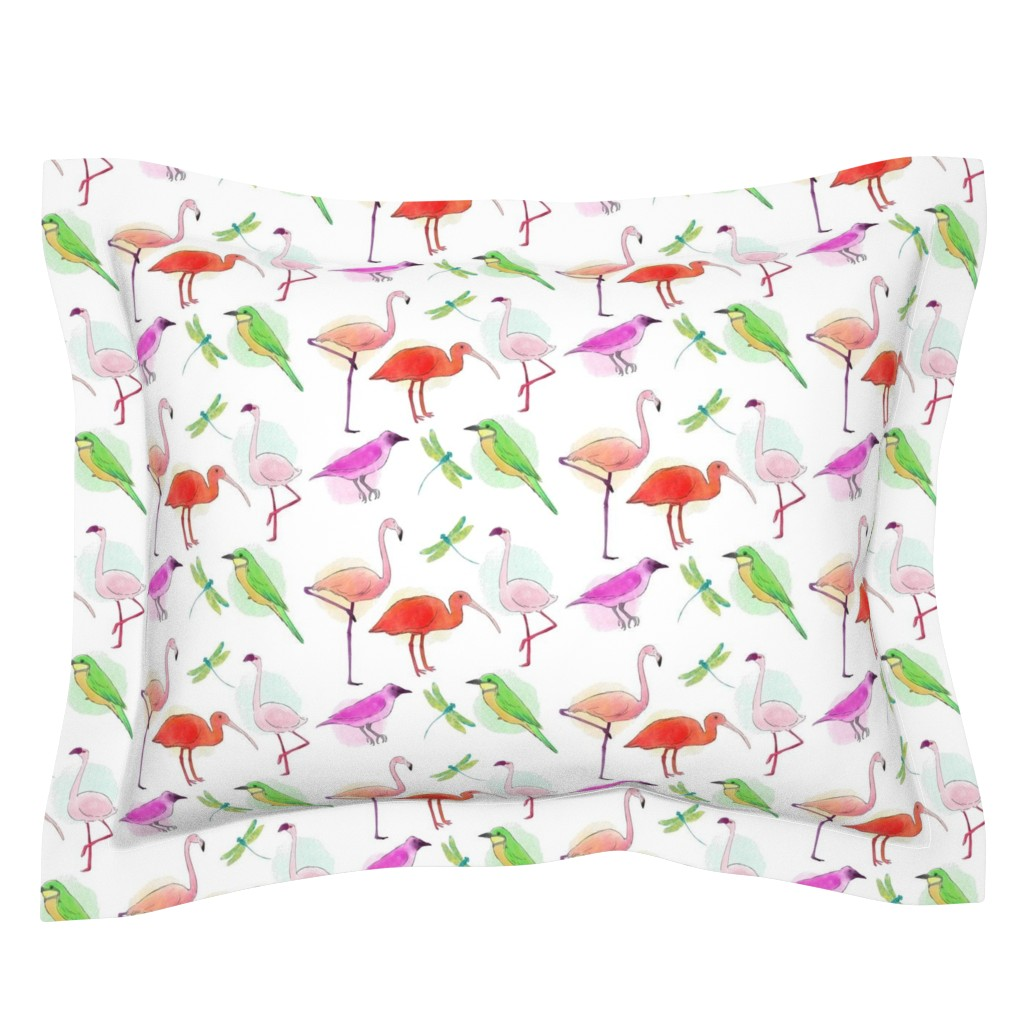 Sebright Pillow Sham featuring Tropical Birds And Dragonflies by gypsea_art_designs
