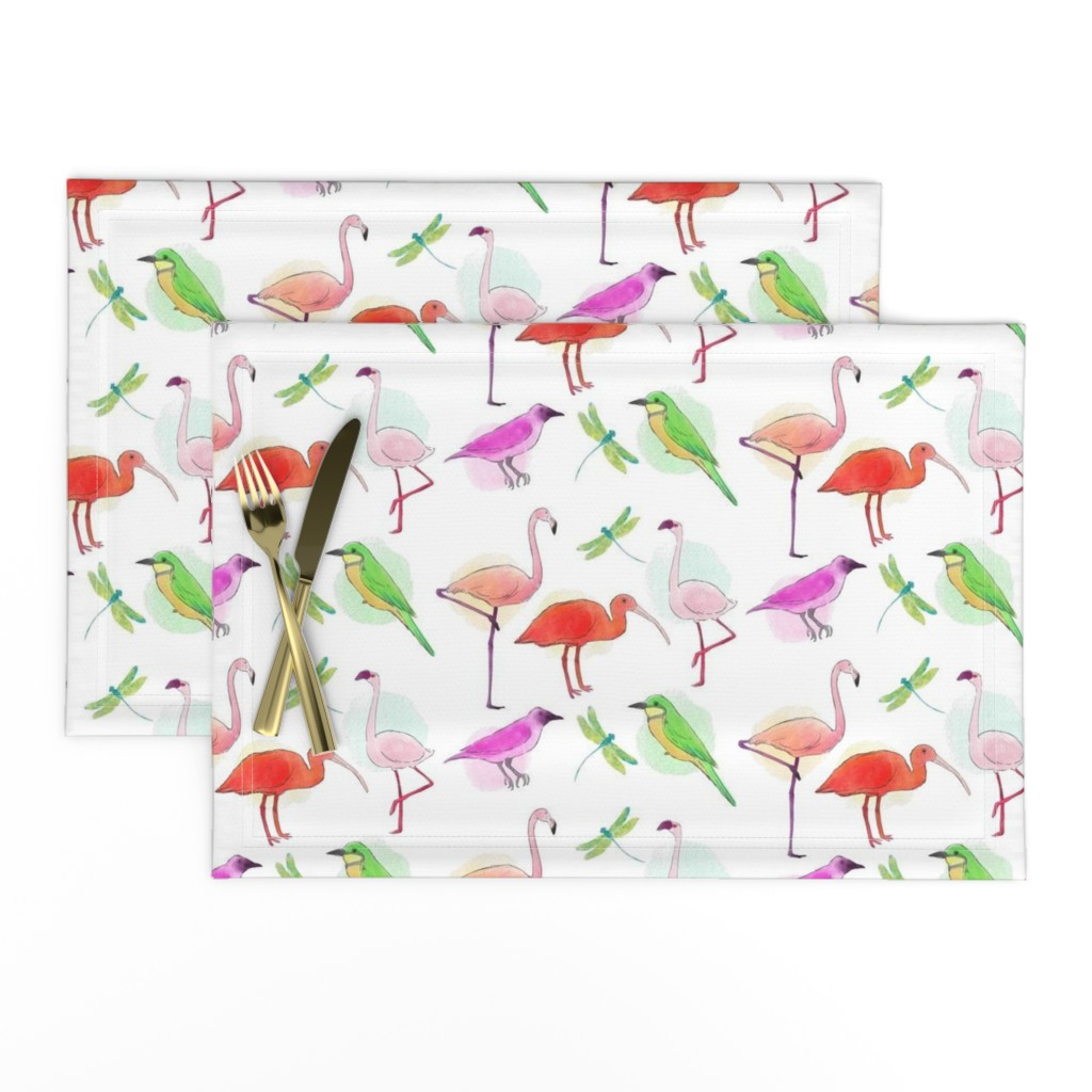 Lamona Cloth Placemats featuring Tropical Birds And Dragonflies by gypsea_art_designs