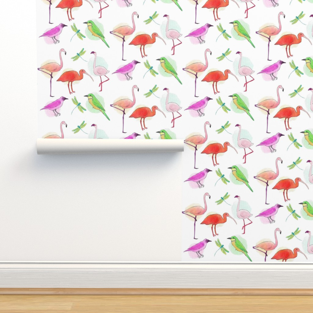 Isobar Durable Wallpaper featuring Tropical Birds And Dragonflies by gypsea_art_designs
