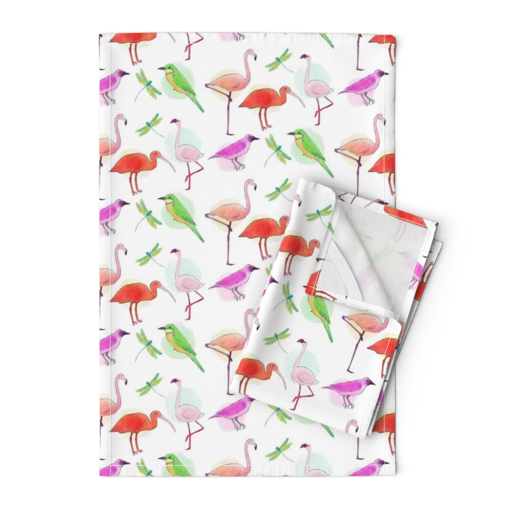 Orpington Tea Towels featuring Tropical Birds And Dragonflies by gypsea_art_designs