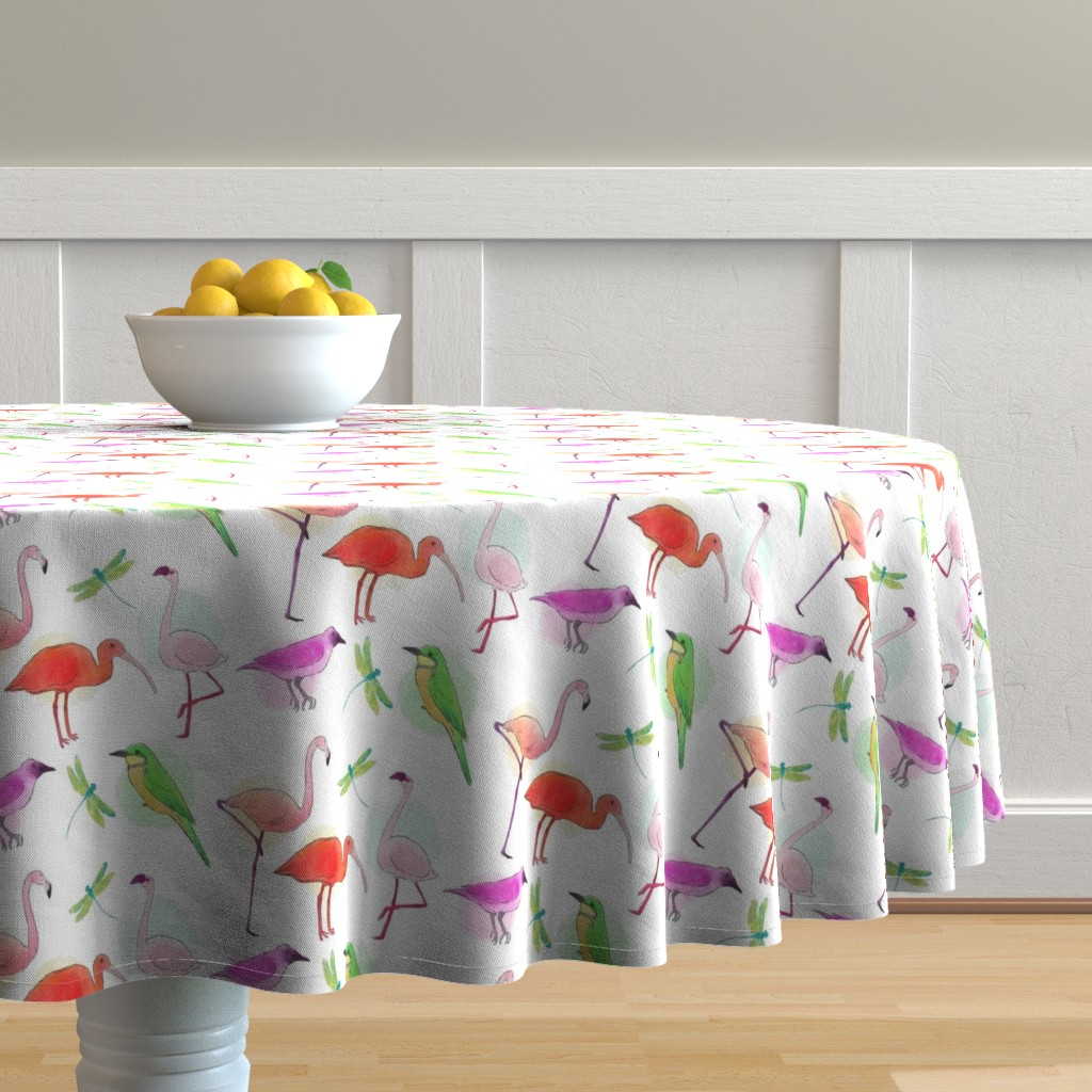 Malay Round Tablecloth featuring Tropical Birds And Dragonflies by gypsea_art_designs