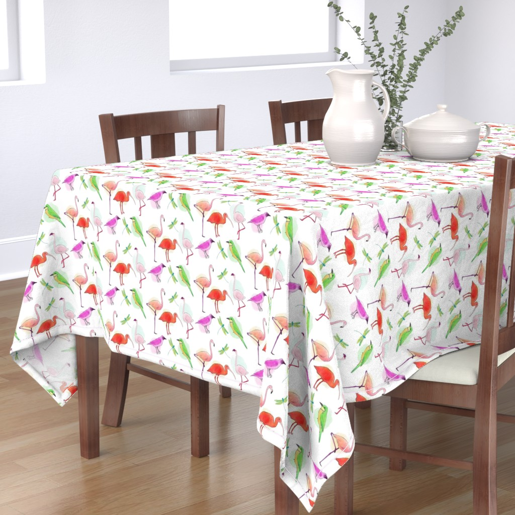 Bantam Rectangular Tablecloth featuring Tropical Birds And Dragonflies by gypsea_art_designs