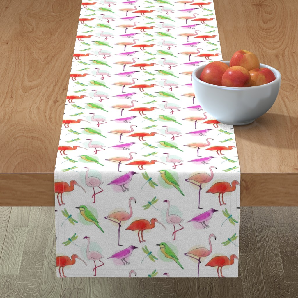Minorca Table Runner featuring Tropical Birds And Dragonflies by gypsea_art_designs