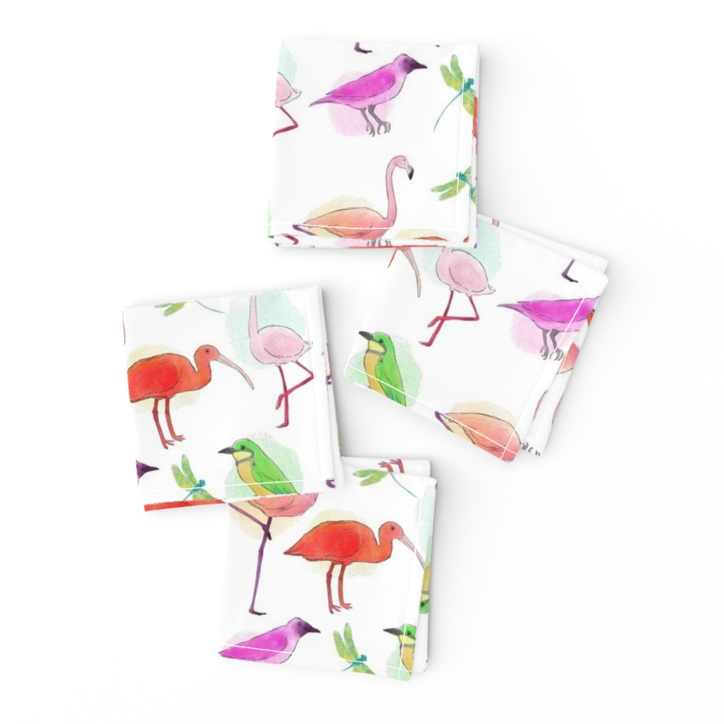 Frizzle Cocktail Napkins featuring Tropical Birds And Dragonflies by gypsea_art_designs