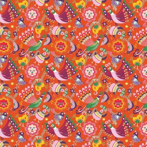 scandinavian folkart birdies   orange   small