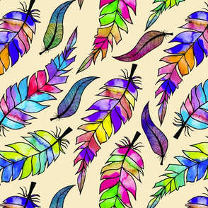 stained glass feathers on cream