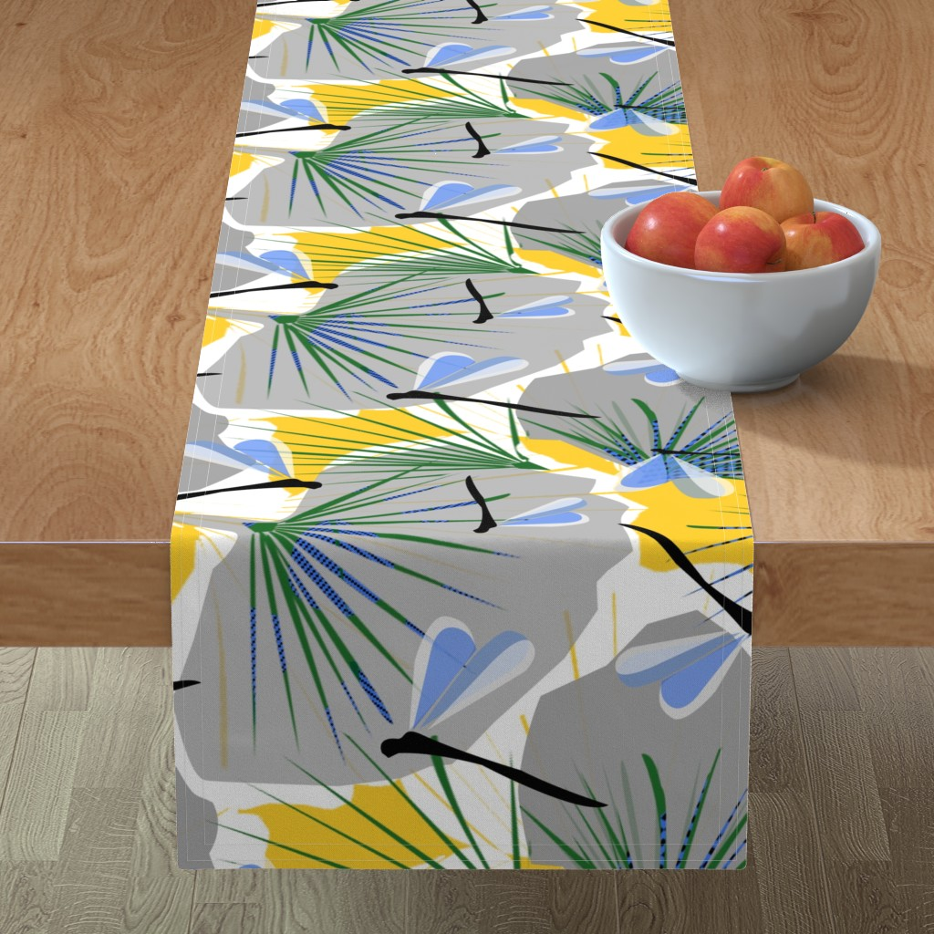 Minorca Table Runner featuring Ginkgo World dragonfly 2 by lorloves_design