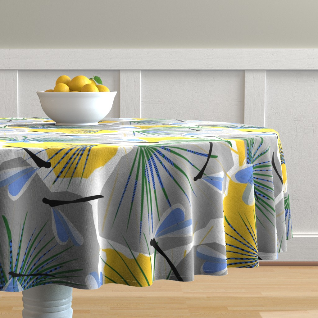 Malay Round Tablecloth featuring Ginkgo World dragonfly 2 by lorloves_design