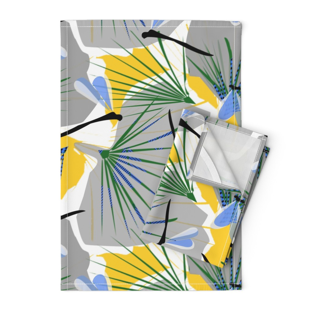 Orpington Tea Towels featuring Ginkgo World dragonfly 2 by lorloves_design