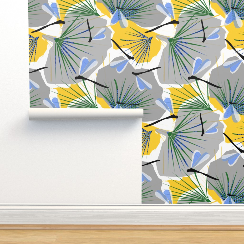 Isobar Durable Wallpaper featuring Ginkgo World dragonfly 2 by lorloves_design
