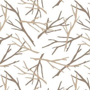 Silhouette of Branches -two shades of brown on white- design 36