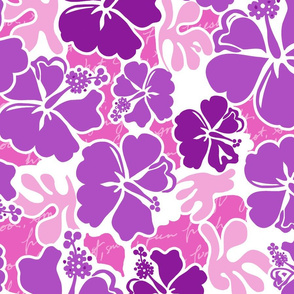 Modern Hibiscus Hawaiian Tropical- Violet