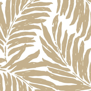 Giant Illustrated Palm Leaves - Taupe