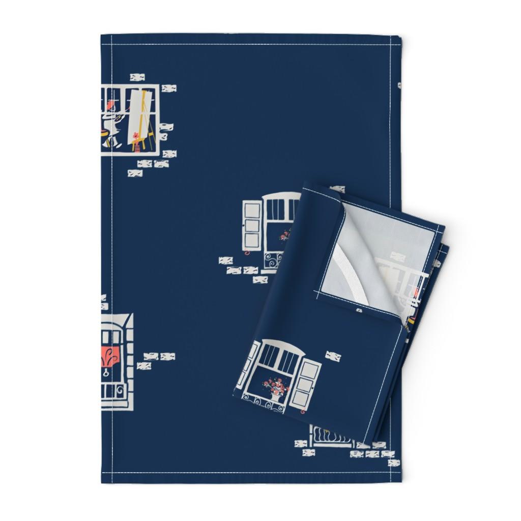 Orpington Tea Towels featuring PARIS WINDOWS 2   Large by southwind