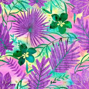 Hawaiian Tropical Floral Watercolor - Violet