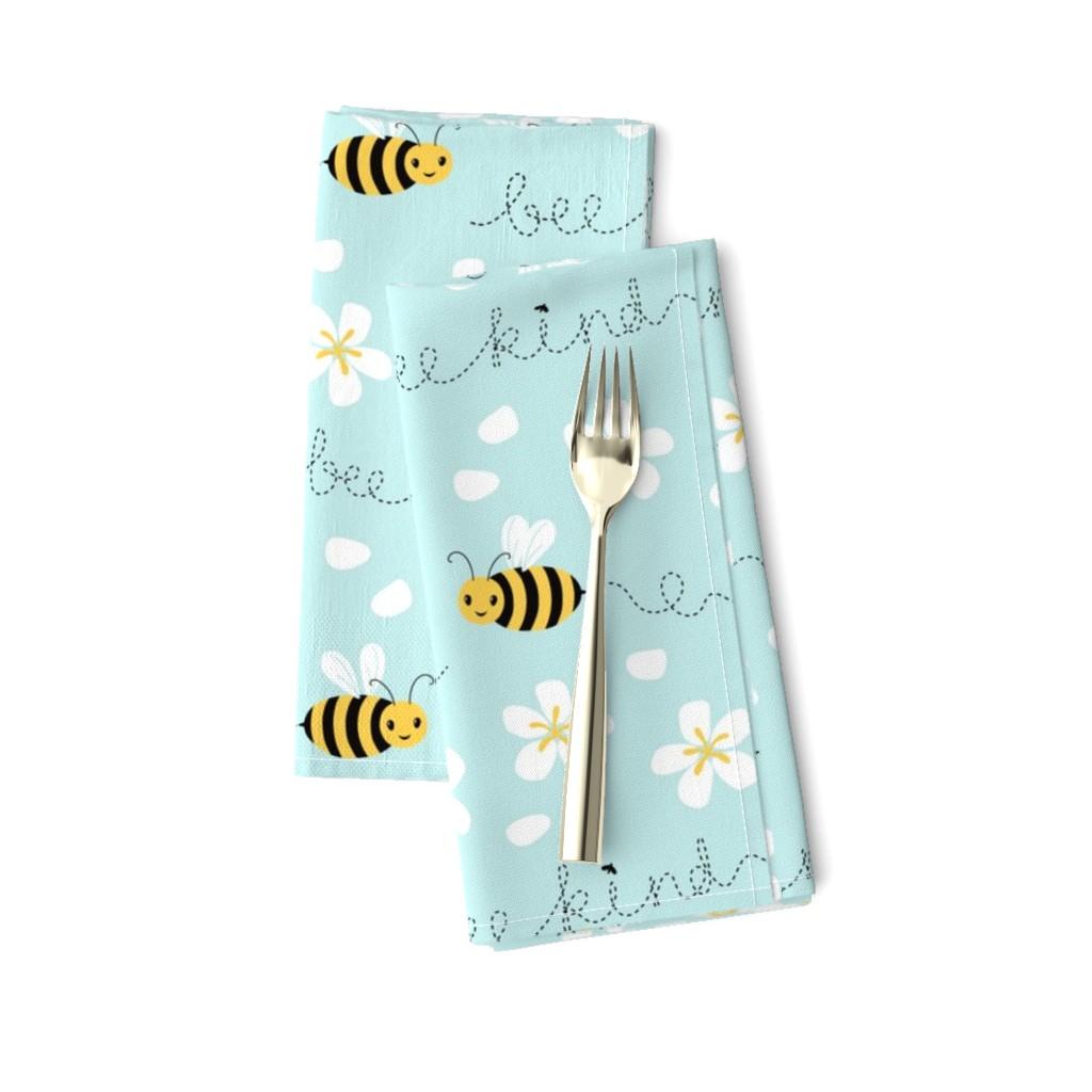Amarela Dinner Napkins featuring Bee Nice, Bee Kind 8.5'' by nadyabasos