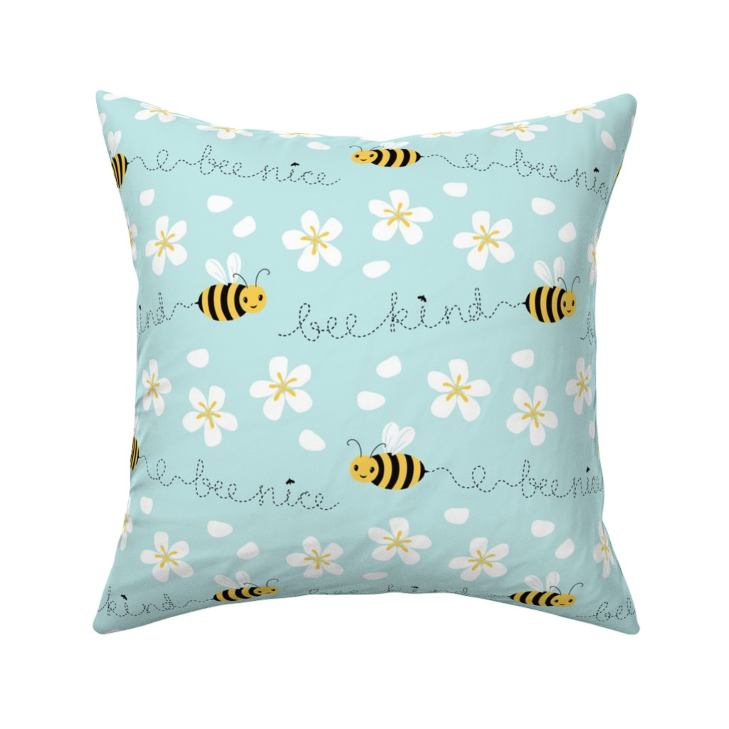 Catalan Throw Pillow featuring Bee Nice, Bee Kind 8.5'' by nadyabasos