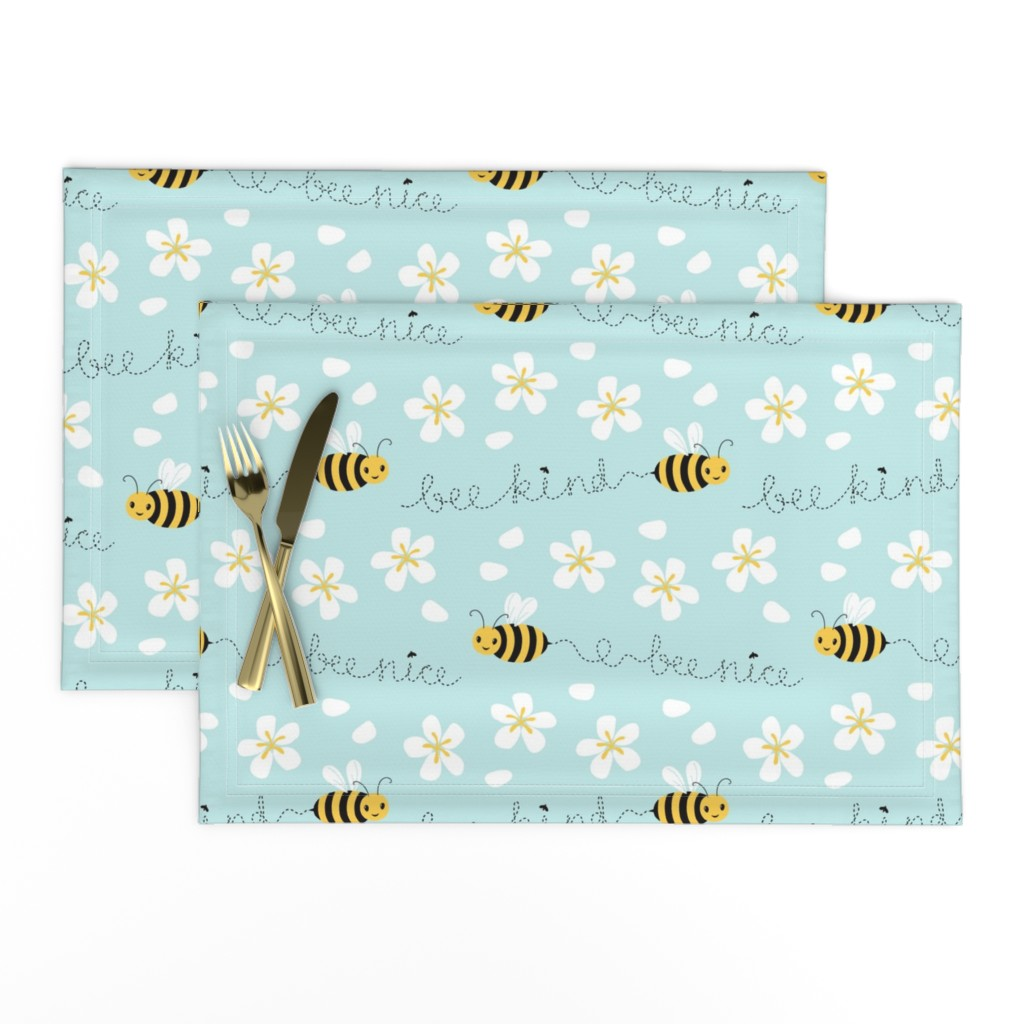 Lamona Cloth Placemats featuring Bee Nice, Bee Kind 8.5'' by nadyabasos