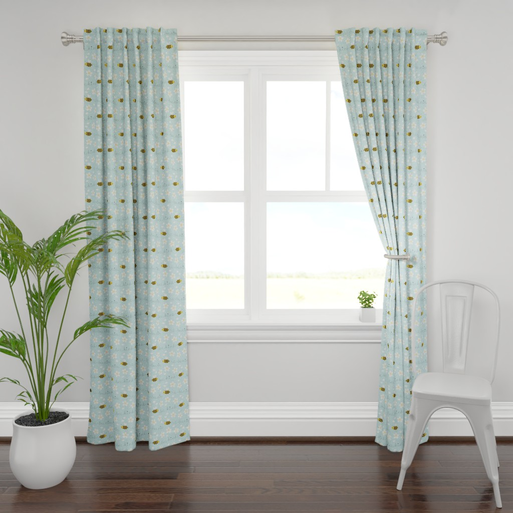 Plymouth Curtain Panel featuring Bee Nice, Bee Kind 8.5'' by nadyabasos