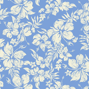 Distressed Hawaiian Hibiscus Floral- Cornflower Blue