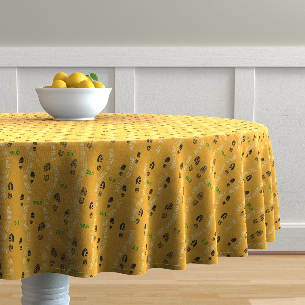 Malay Round Tablecloth featuring Positive Running Vibes by stasiajahadi