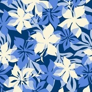 Hawaiian Hibiscus Camouflage- Tonal Blues