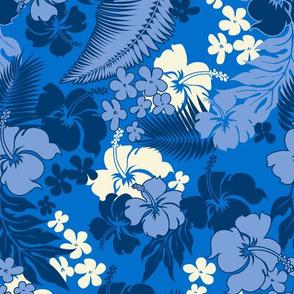 Hawaiian Hibiscus Aloha Shirt Print- Blues