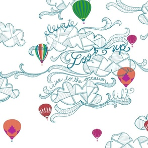 Look up! hot air balloon line art on white