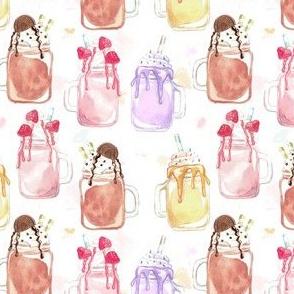 Watercolor Ice Cream Mug Milkshake