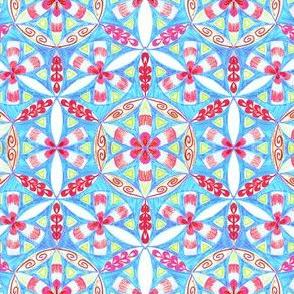 Arabesque Mandalas Pattern Fabric Handdrawing