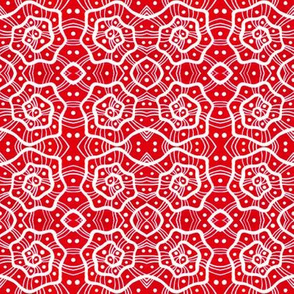 Helices White Scarlet Red Abstract Geometric Pattern