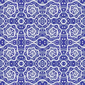 Helices Royal Blue White Abstract Geometric Pattern