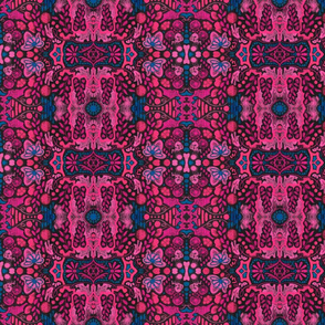 Indian Summer, Bohemian Arabesque, Pink Blue Black
