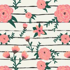 Pink Flower Stripes