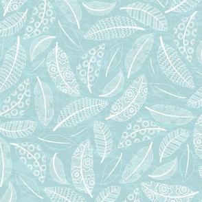 Boho Feathers - pale blue