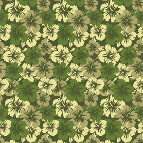 Oversized Hawaiian Hibiscus Floral- Olive Green