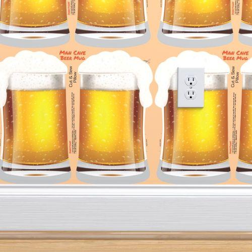 Wallpaper Man Cave Beer Mug Cut And Sew Pillow